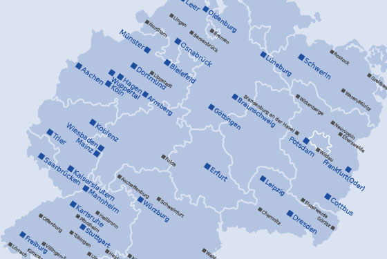 Karte mit Übersicht der Standorte in Deutschland.